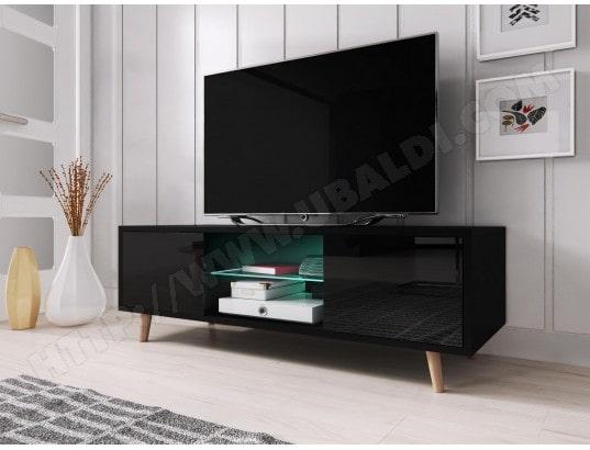 vivaldi sweden meuble tv style scandinave noir mat avec noir brillant eclairage a la led bleue ma 54ca43 swed 4nuw4