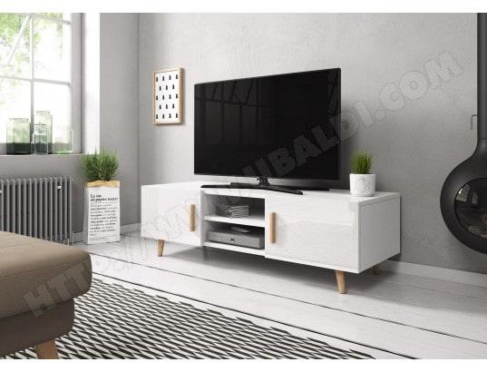 Sweden 2 Meuble Tv Style Scandinave Blanc Mat Avec Blanc Brillant