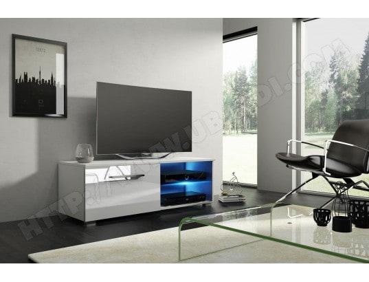 Moon 2 Meuble Tv Design Blanc Mat Avec Blanc Brillant Eclairage A