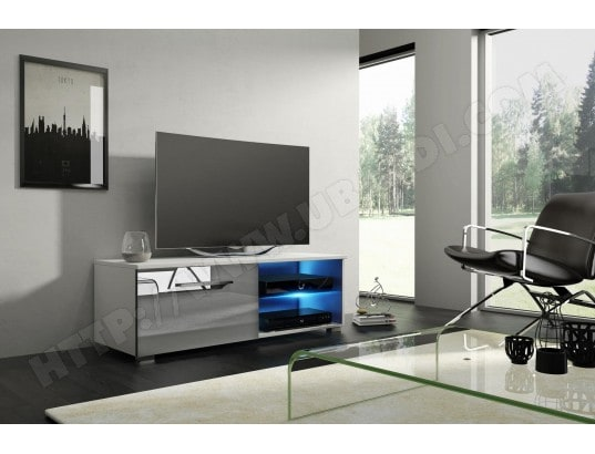 Moon 2 Meuble Tv Design Blanc Mat Avec Gris Brillant Eclairage A La Led Bleue Vivaldi Ma 54ca43 Moon Ogare Pas Cher Ubaldi Com