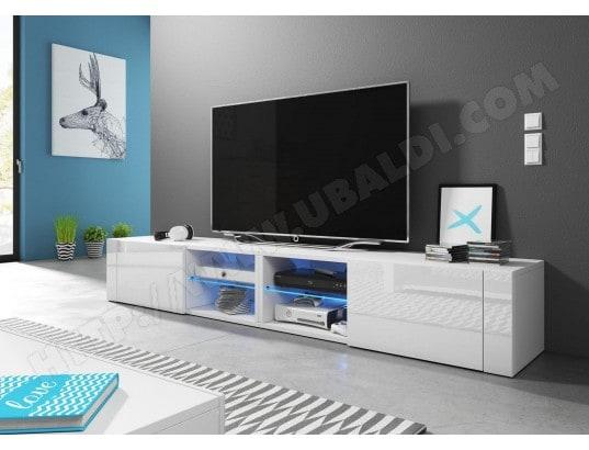 hit 2 double meuble tv design blanc mat avec blanc brillant eclairage la led bleue vivaldi. Black Bedroom Furniture Sets. Home Design Ideas