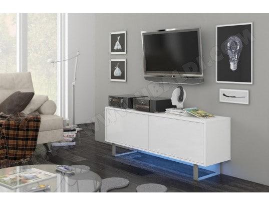 King 1 Meuble Tv Design Blanc Mat Avec Blanc Brillant Eclairage à