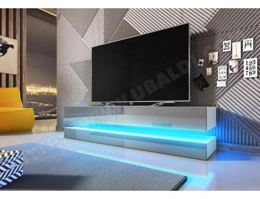 Meuble Tv Design Fly Blanc Mat Avec Gris Brillant Eclairage