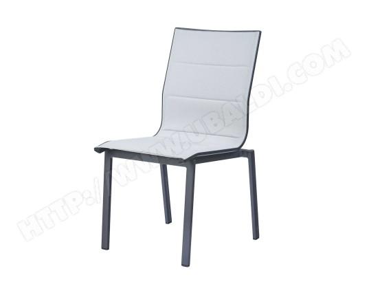 Chaise de jardin Ajaccio - Aluminium et textilène - Gris perle ...