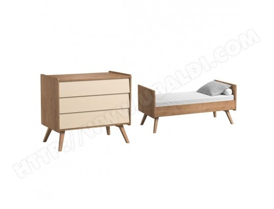 lit volutif 70x140 et commode langer vox vintage bois beige meubles vox ma 16ca187lite. Black Bedroom Furniture Sets. Home Design Ideas