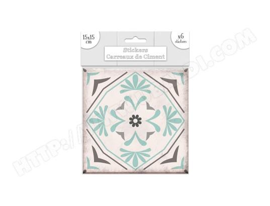 6 Stickers carreaux de ciment Fleurs - 15 x 15 cm - Vert SUD ...