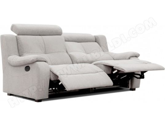 canap microfibre poldem lola 3 places relaxation gris pas. Black Bedroom Furniture Sets. Home Design Ideas
