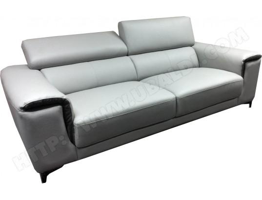 canap cuir ub design victor 3 places gris clair pas cher. Black Bedroom Furniture Sets. Home Design Ideas