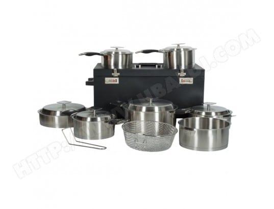 artmetal 3050030 pas cher batterie de cuisine 15 pi ces poign es amovibles avec valise. Black Bedroom Furniture Sets. Home Design Ideas