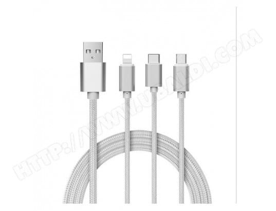 Cable 3 en 1 Pour IPHONE Android, Apple & Type C Adaptateur Micro USB Lightning 1,5m Metal Nylon (ARGENT) TBD MA-17CA501CABL-CUWGM