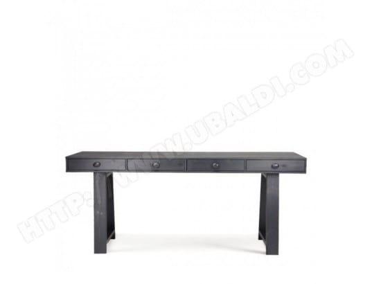 Bureau console en pin fsc tiroirs teuna couleur noir drawer