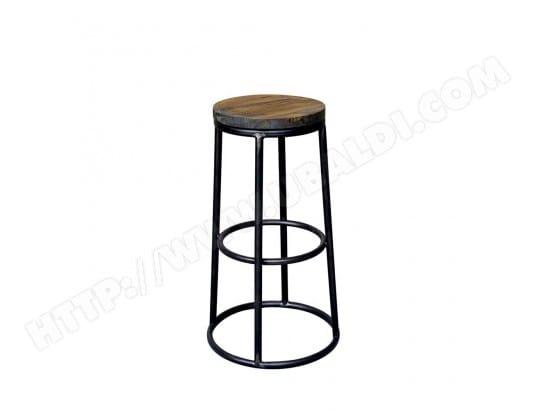 f322cba21a68a6 Tabouret de bar indus bois métal 75cm Fredo - Couleur - Metal DRAWER  MA-72CA493TABO-9D205 Pas Cher   UBALDI.com