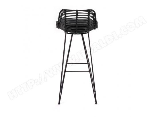 Chaise De Bar Design En Rotin 75cm Capurgana Couleur Noir Drawer