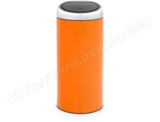brabantia touch bin 30l chrome orange 481062 pas cher. Black Bedroom Furniture Sets. Home Design Ideas