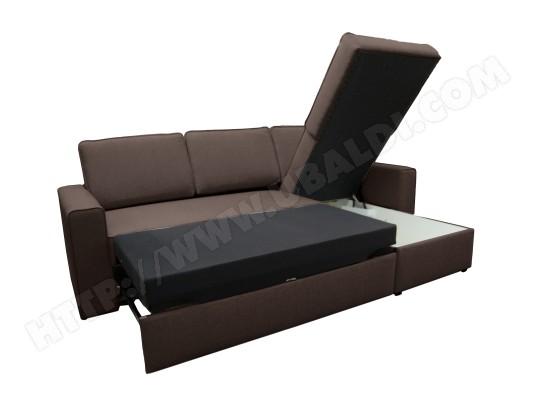 Canape Lit Ub Design Marco Angle Droit Tiroir Tissu Chocolat Pas
