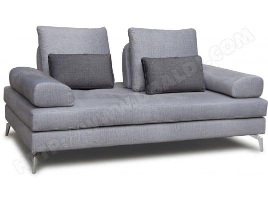 Canapé tissu CITY Merano 3 pl. tissu gris coussins déco ...
