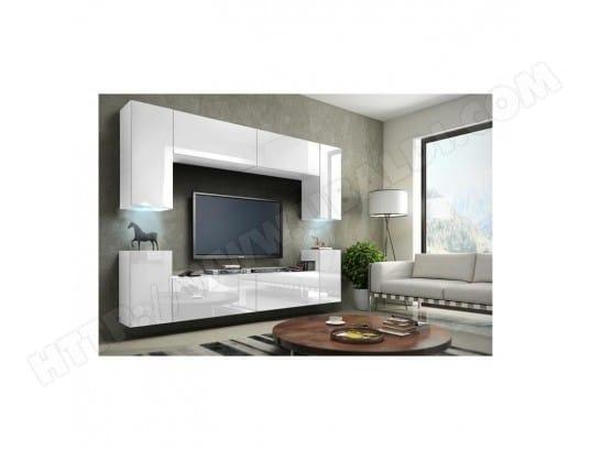 meuble de salon meuble tv complet suspendu concept corps blanc mat fa ades laqu es. Black Bedroom Furniture Sets. Home Design Ideas