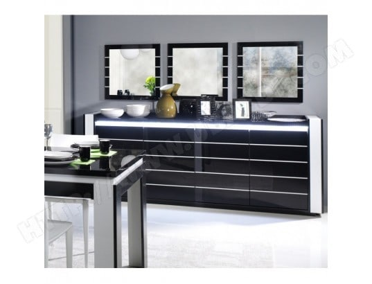 buffet bahut enfilade lina avec led 3 x miroirs. Black Bedroom Furniture Sets. Home Design Ideas