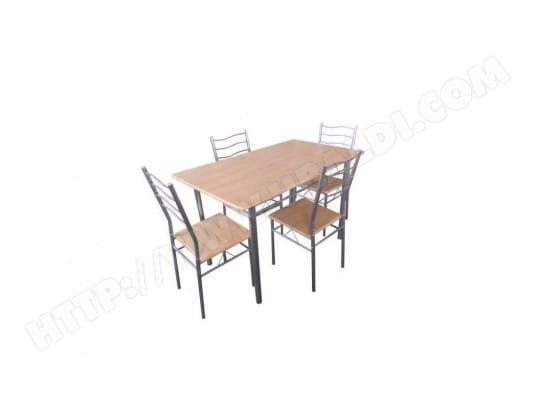 PRICE FACTORY Table de cuisine et salle à manger + 4 chaises BAREMEN. Coloris bois naturel et gris. Ensemble repas design métal et bois