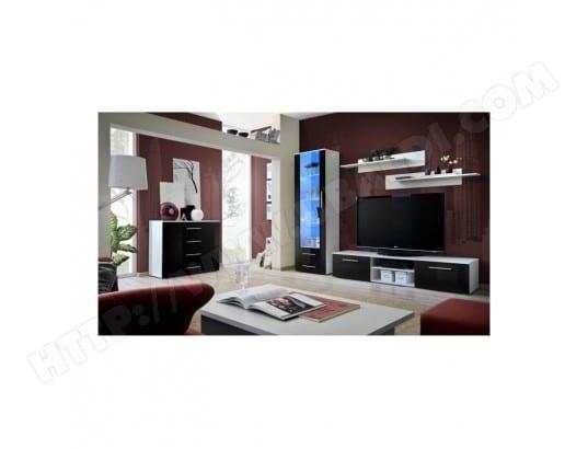 Meuble TV GALINO B design, coloris blanc et noir brillant. Meuble ...