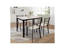 PRICE FACTORY 251 Table De Cuisine Et Salle A Manger 4 Chaises LEEDS Ensemble Repas Design Metal Bois