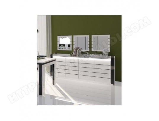 Buffet, bahut LINA blanc et noir brillant avec LED. Meuble design ...