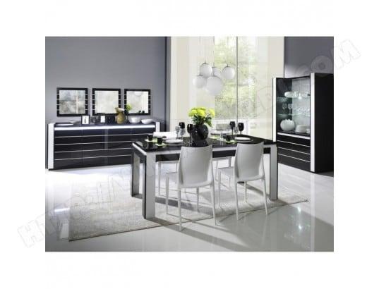Meuble de salon salle à manger LINA 9 éléments noir et blanc ...
