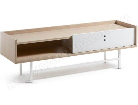 meuble tv lf lish 140 cm ch ne blanc pas cher. Black Bedroom Furniture Sets. Home Design Ideas