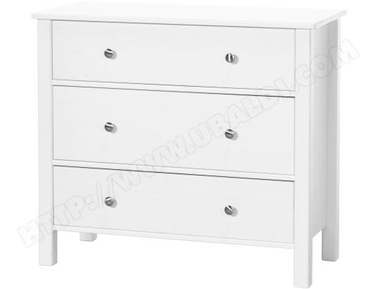 Commode FLEXA Commode 3 tiroirs blanc couvrant Pas Cher | UBALDI.com