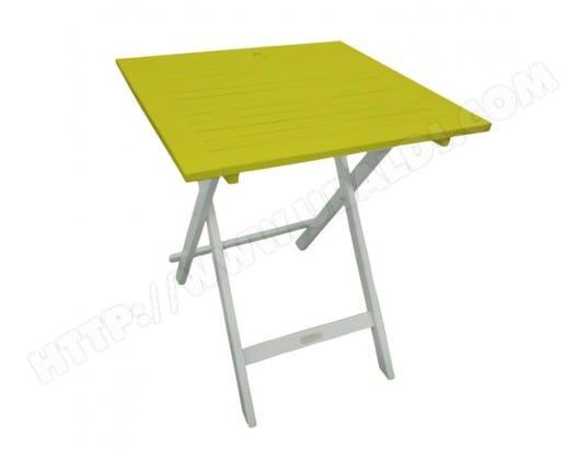 Table de jardin carrée pliante en acacia 65x65cm BURANO vert ...