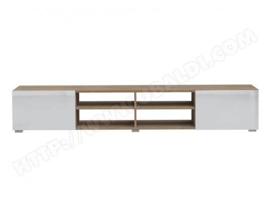 meuble tv 4 niches 2 tiroirs en bois l185cm glossy blancchne symbiosis ma