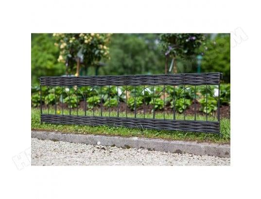 Bordure de jardin en résine tressée ajourée et métal 100x25 cm ...