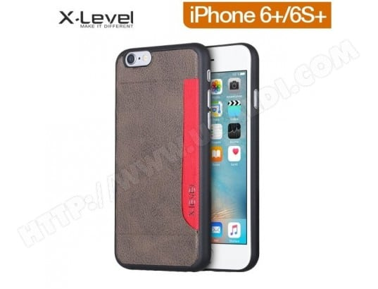 Coque Xlevel Vintage Card partner Grey pour iPhone 6+/6S+ ALPEXE MA-73CA500COQU-PN2JO