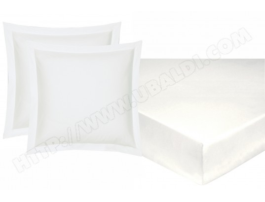 Drap housse HANS Dh 140 + 2 taies rectangles percale blanc