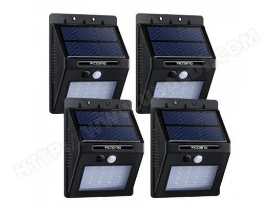 4 Pack 16 LED 320 Lumens Lampe Solaire Extérieure avec Capteur ...