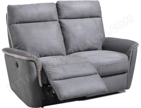 Canape Tissu Ub Design Mila 2 Places Avec 2 Relax Electriques Gris