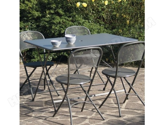 Table de jardin rectangulaire pliante 118x76cm Acier avec trou ...