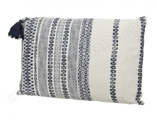 coussin d houssable avec grand pompon 100 coton 60x60cm motif ethnique sian decoris ma. Black Bedroom Furniture Sets. Home Design Ideas