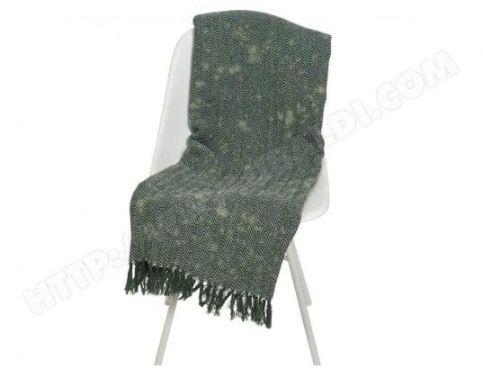 plaid d 39 t en coton frange effet d lav motif chevron 95x175cm fahel vert decoris ma. Black Bedroom Furniture Sets. Home Design Ideas
