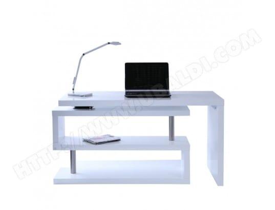 Bureau design blanc laqué amovible max miliboo pas cher