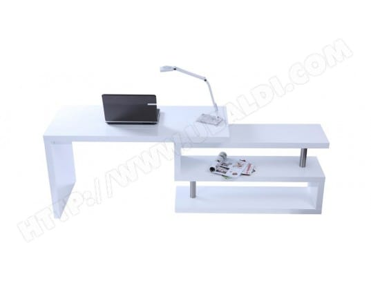 Bureau design blanc laqué amovible max miliboo 11965 pas cher