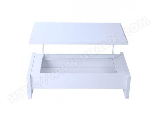 Table Basse Design Relevable Blanche Avec Rangement Lola Miliboo