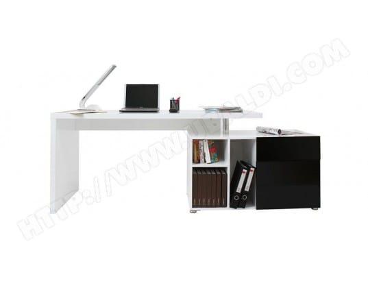 Bureau design blanc et noir laqué rangements droite maxi miliboo