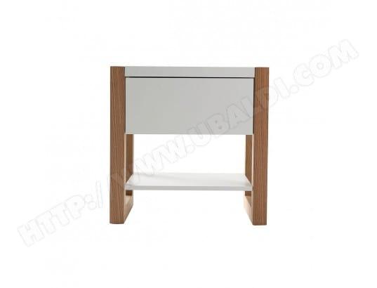 table de chevet blanc et ch ne armel miliboo 32981 pas cher. Black Bedroom Furniture Sets. Home Design Ideas