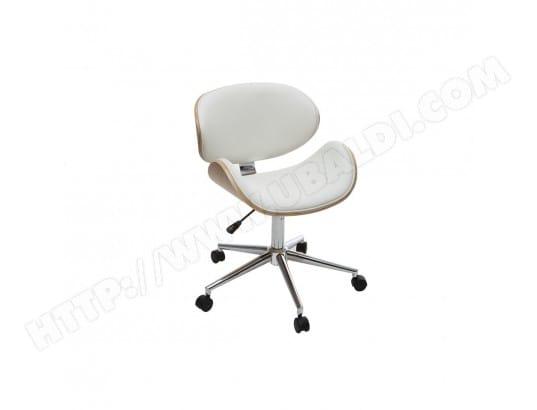 Chaise de bureau design pu blanc et bois clair walnut miliboo