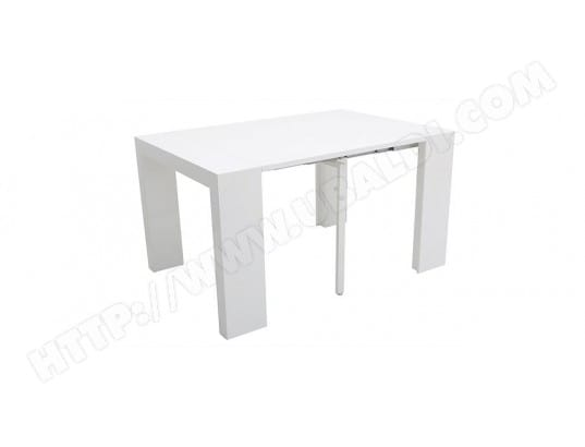 miliboo table console extensible design blanc laqu caleb 43370 - Table Console Extensible Blanc Laque