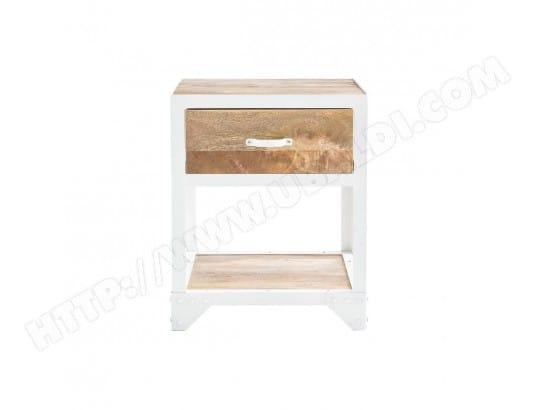 table de chevet design manguier et m tal blanc pukka miliboo 43642 pas cher. Black Bedroom Furniture Sets. Home Design Ideas