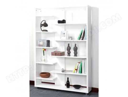 biblioth que design laqu e blanche vixy miliboo ma 78ca43 bibl sx5rd pas cher. Black Bedroom Furniture Sets. Home Design Ideas