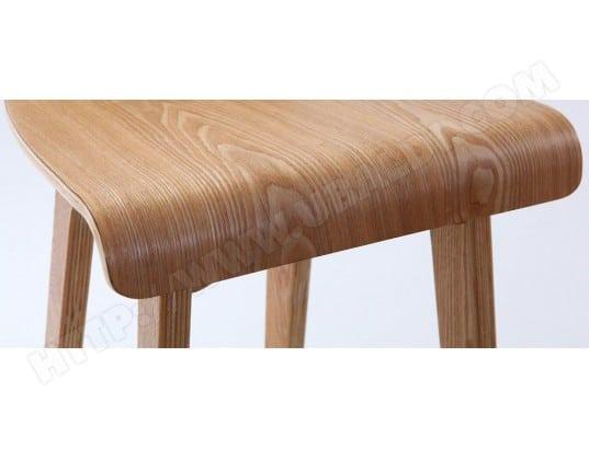07cb872d94b45d Tabouret   chaise de bar design bois naturel scandinave H75cm BALTIK MILIBOO  MA-78CA493TABO-