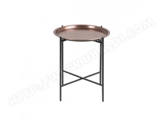 Table D Appoint Design Ronde Metal Cuivre Luz Miliboo Ma